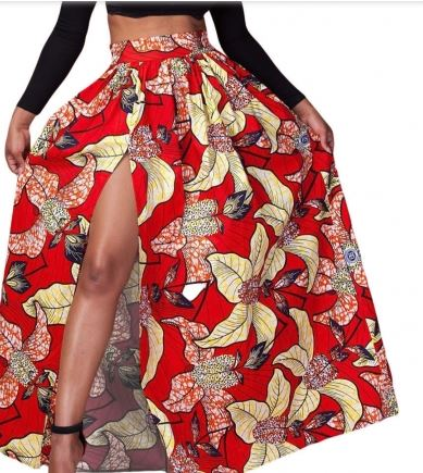 red floral high split maxi